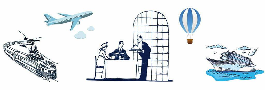 Montage de dessins qui symbolisent les voyages.